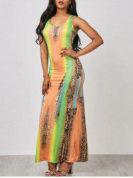 Leopard Print Cut Out Maxi Dress - COLORMIX