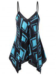 Graphic Handkerchief Tank Top - BLUE AND BLACK