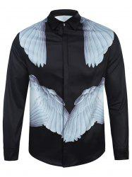 Cover Placket Symmetrical Wings Print Curve Bottom Shirt