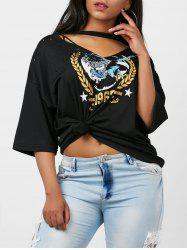 Graphic Distressed Choker T-Shirt