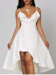 Ruffle High Low Slip Dress - WHITE