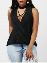 Surplice Criss-Cross Choker Top