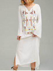 Maxi brodé à manches longues Casual Boho Dress -