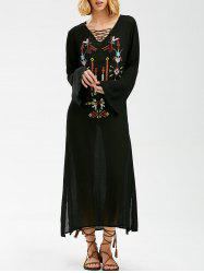 Embroidered Lace-Up Bohemian Dress