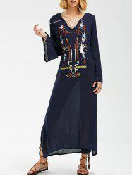 Maxi Embroidered Long Sleeve Casual Boho Dress - PURPLISH BLUE