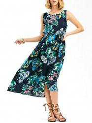 Sleeveless Elastic Waist Floral Print Dress