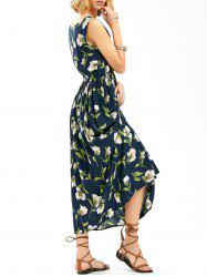 Floral Print Sleeveless Elastic Waist Dress