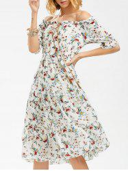 Flower Print Off The Shoulder Midi Chiffon Dress - WHITE