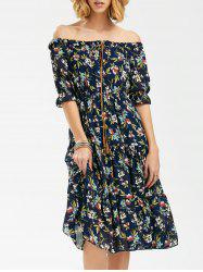 Floral Print Off The Shoulder Chiffon Dress - Bleu