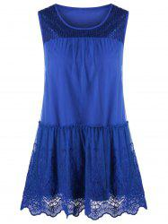 Tulle Trim Sequined Detail Sleeveless Blouse