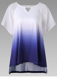 Keyhole Neck Ombre High Low Hem T-Shirt