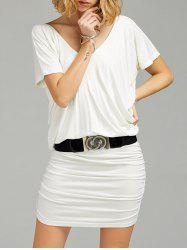 Ruched V Neck Tee Dress with Belt - WHITE