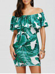 Leaf Print Ruffled Off The Shoulder Dress - WHITE AND GREEN