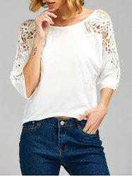 Lace Insert Cutwork Tee - WHITE M