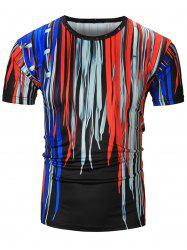 Short Sleeve 3D Colorful Shoelace Print T-Shirt