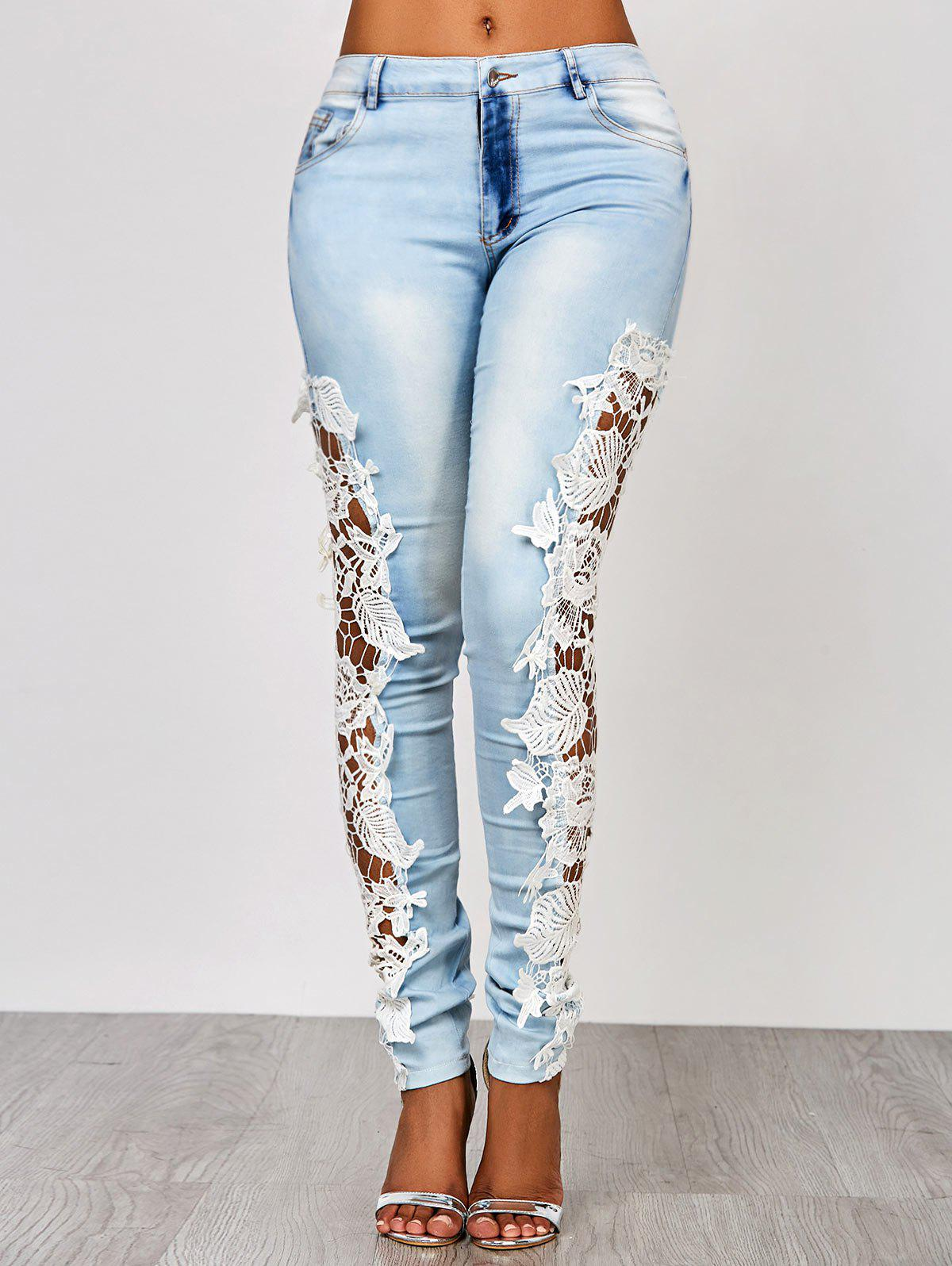 Lace Insert Washed Skinny JeansWOMEN<br><br>Size: M; Color: AZURE; Material: Jeans; Length: Normal; Wash: Light; Fit Type: Skinny; Waist Type: Low; Weight: 0.316kg; Package Contents: 1 x Jeans;