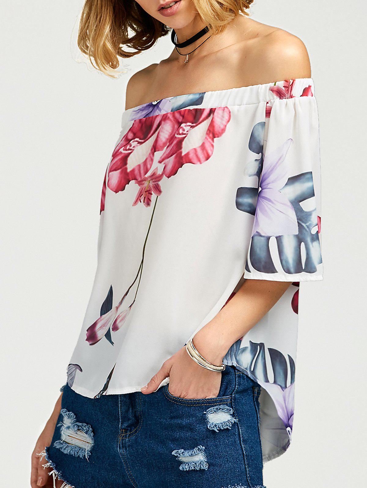 Off The Shoulder Floral High Low TopWOMEN<br><br>Size: L; Color: WHITE; Occasion: Casual; Style: Casual; Material: Polyester; Shirt Length: Regular; Sleeve Length: Half; Collar: Off The Shoulder; Pattern Type: Floral; Season: Summer; Elasticity: Nonelastic; Weight: 0.2000kg; Package Contents: 1 x Blouse;
