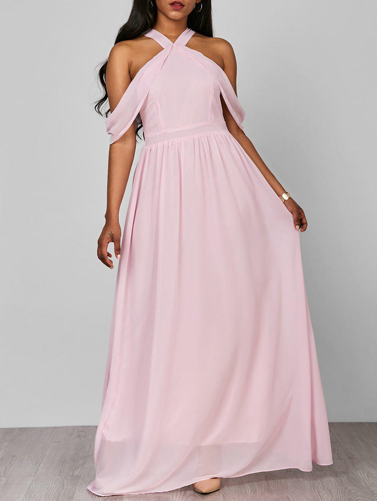 Unique Cold Shoulder Long Chiffon Flounce Halter Formal Maxi Dress