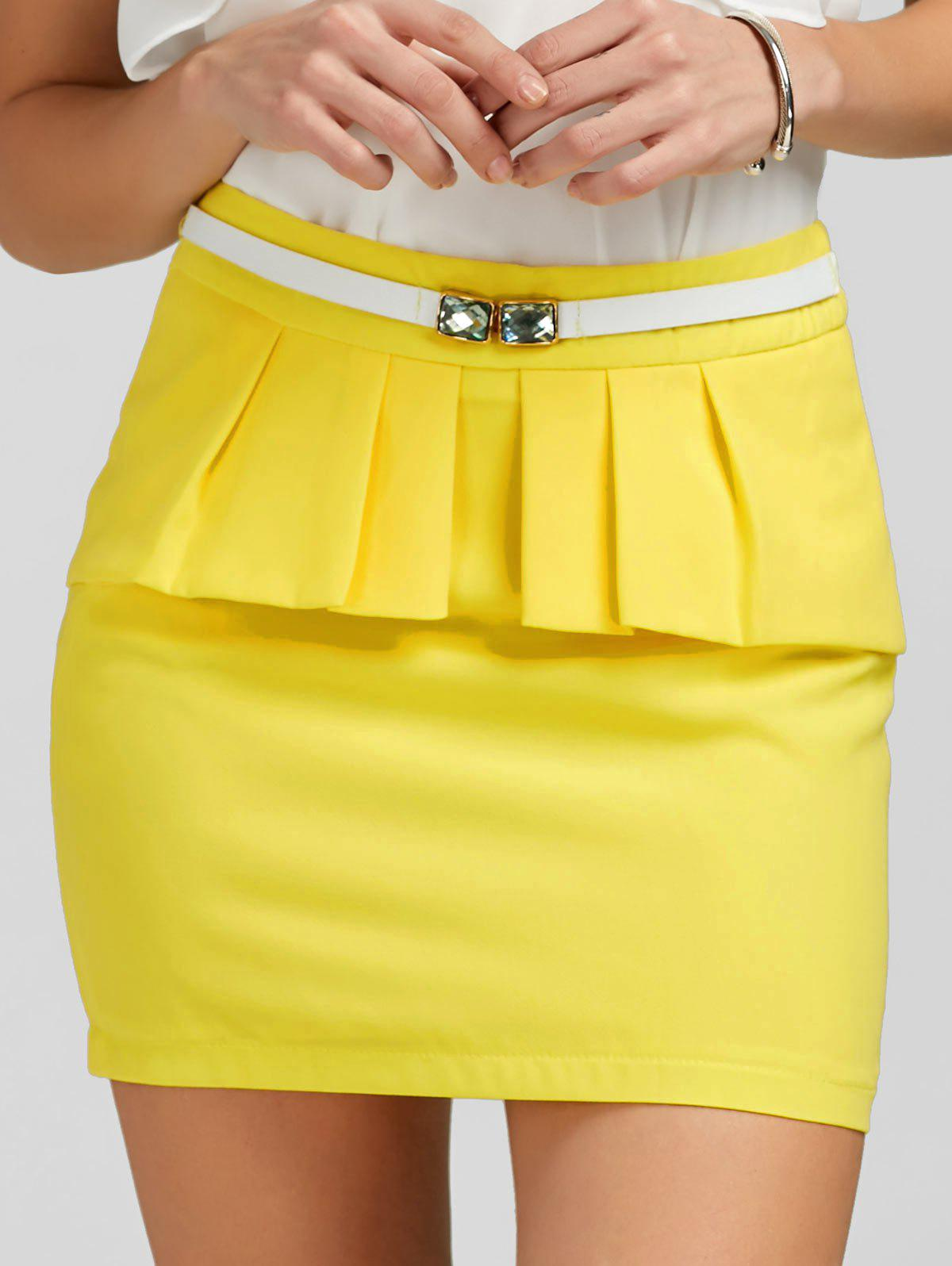 Trendy Ruffle Belt Insert Mini Fitted Skirt