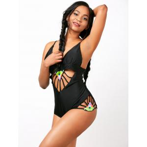 Spaghetti Strap Cut Out One-Piece  Swimwear -