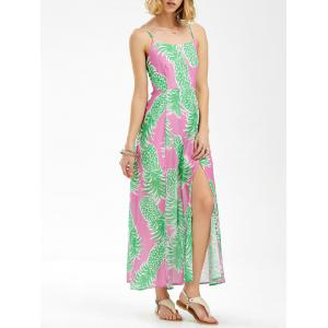 Maxi Chiffon Split Backless Pineapple Print Slip Dress