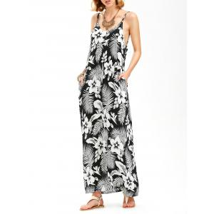 Floral Print Backless Tropical Maxi Slip Dress - White And Black - 2xl