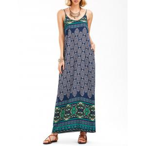 Vintage Printed Backless Long Maxi Slip Dress - Multi - 2xl
