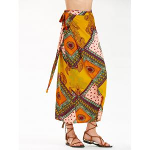 Bohemian Print High Waist Midi Wrap Skirt - Colormix - Xl