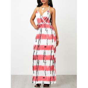 Criss Cross Backless Tie Dye Maxi Dress