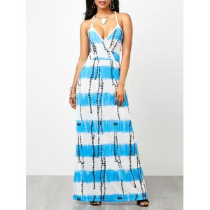 Criss Cross Backless Tie Dye Maxi Dress - Lake Blue - S