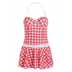 Plus Size Plaid Skirted Push Up Swimsuit