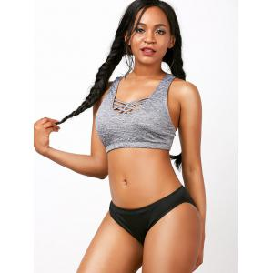 Criss Cross Racerback Crop Top Bikini Set