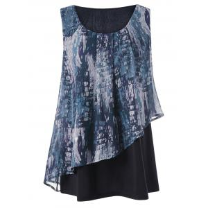Graphic Overlay Sleeveless Plus Size Blouse