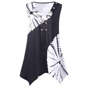 Plus Size Chains Detail Tie Dye Tee - White And Black - 5xl