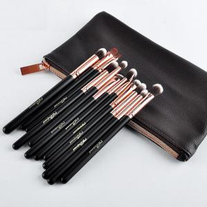 12 Pcs Eye Fiber Makeup Brushes Kit - ROSE GOLD