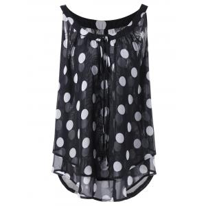 Plus Size Polka Dot Printed  Chiffon Flowy Top - Black - Xl