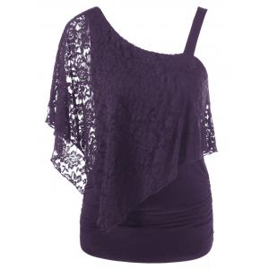 One Shoulder Lace Capelet Slimming T-Shirt - Purple - 2xl