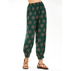 Flower Print High Waist Arab Harem Pants - Blackish Green - L