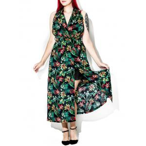 Plus Size Halter Backless Tropical Floral Maxi Dress
