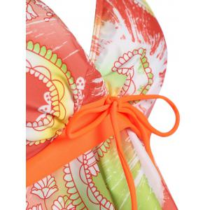 Plus Size Flounce Print Tankini Set - ORANGE 2XL