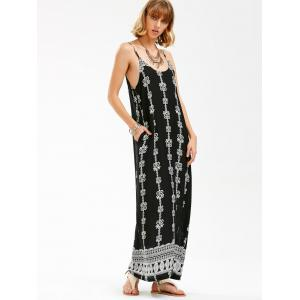 Jewelry Print Backless Maxi Slip Beach Dress - BLACK 2XL