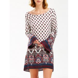 Long Sleeve Bohemian Print Shift Tunic Dress