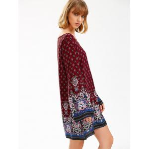 Boho Print Flared Long Sleeve Shift Tunic Dress -