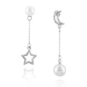 Faux Pearl Rhinestone Star Moon Chain Earrings