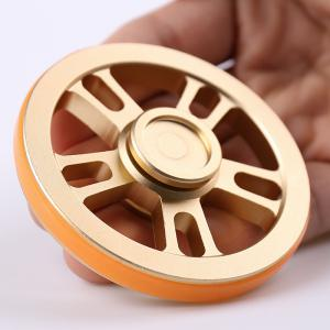Fiddle Toy Wheel Fidget Metal Spinner with Elastic Bands - GOLDEN