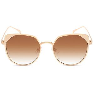 UV Protection Metallic Cat Eye Sunglasses - GOLD FRAME/DARK BROWN LENS