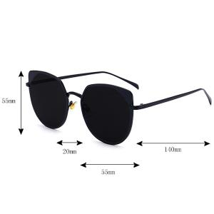Reflective Metallic Cat Eye Mirrored Sunglasses - SLIVER FRAME+MERCURY LENS