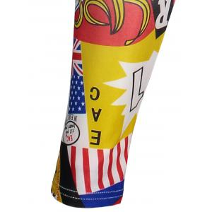 American Flag Letters Print Patriotic Leggings - COLORMIX ONE SIZE