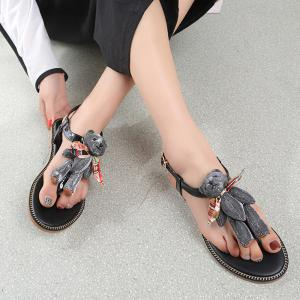Bear T Strap Stitching Flip Flot Sandals - Black - 39