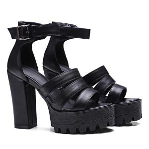 Strappy Chunky Heel Sandals - BLACK 39